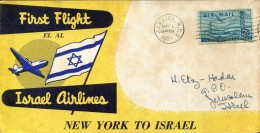 10422 U.s.a. To Israel, First Flight EL AL Israel Airlines, New York To Israel Jerusalem, 1951 - Posta Aerea