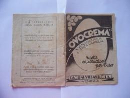 VECCHIO RICETTARIO OVOCREMA PAOLINI VILLANI 1938 - Altre Collezioni