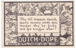 Dutch Dope, Humor Dutch Wedding Romance Ethnic Humor C1910s Vintage Postcard - Marriages