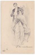 'At The Dance' Artist Image Romance Man & Woman Fashion, C1910s Vintage Postcard - Marriages
