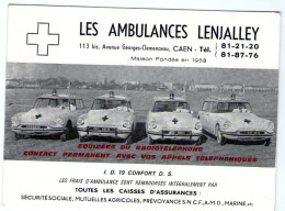 Carte Visite  Ambulances Lenjalley Av Clemenceau Citroen Ds - Caen