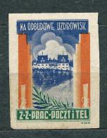 Poland - Post And Telegraph Trade Union - Aid For Reconstruction Of Spa - Label  1 Zl Unused - 1919-1939 République