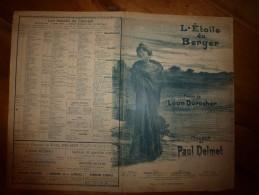 Vers 1900 Chanson L'ETOILE DU BERGER, Poésie Léon Durocher, Musique Paul Delmet, Couverture Illustrée L.M. - Partitions Musicales Anciennes