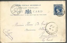 ! - Ceylan (Sri Lanka) - Entier Postale Envoi De 1897 De Colombo Vers Tronchennes, Belgique - Sri Lanka (Ceylan) (1948-...)
