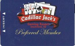 Cadillac Jack Casino Deadwood, SD - Slot Card - Web Address On Reverse  (BLANK) - Casinokaarten