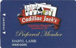 Cadillac Jack Casinon Deadwood, SD - Slot Card - Web Address On Reverse - Casino Cards