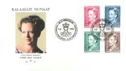 1990 Queen Margrethe  4Kr, 6,50Kr, 0,25Kr, 1,00Kr Values - FDC