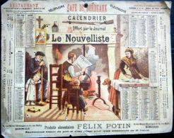 33 BORDEAUX 1892 CALENDRIER OFFERT PAR LE JOURNAL ANTIDREYFUSARD ET ANTISEMITE  LE  NOUVELLISTE - Calendriers