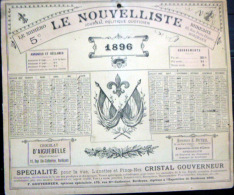 33 BORDEAUX 1896 CALENDRIER OFFERT PAR LE JOURNAL ANTIDREYFUSARD ET ANTISEMITE  LE  NOUVELLISTE - Calendriers