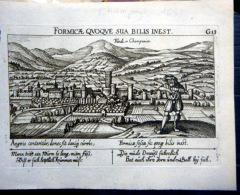 51  FINDI ? EN CHAMPAGNE  VUE CAVALIERE  DE LA VILLE   EN 1632  EAU FORTE ORIGINALE MEISNER - Estampes & Gravures