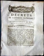 REVOLUTION FRANCAISE  ARRESTATION DE LOUIS XVI A VARENNES EN 1791 DECRET D'ENQUETE RECHERCHE DE COMPLICES - Décrets & Lois