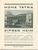 Slowakei - Hohe Tatra - Tatralomnitz - Tatr. Lomnica - Zipser Heim 1936 - Faltblatt Mit 1 Abbildung - Dépliants Touristiques