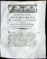 REVOLUTION FRANCAISE  ARRESTATION DE LOUIS XVI VARENNES  1791 PRISES DE MESURES DE SECURITE NATIONALE - Décrets & Lois