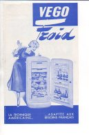 """Publicité Années 1950/60  - Prospectus 2 Volets Réfrigérateur """" VEGO"""" Froid Chez Vermot-Gaud & Cie à Morteau (Doubs) - Publicités"""