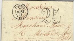 1852- Lettre En Port-du  De SAINTES ( Char. Mar. ) Cad T15 Taxe 25 Dt Pour Montendre - 1849-1876: Periodo Clásico