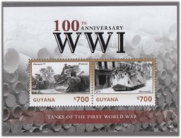 WWI Tanks Renault FT France  A7V German , Weapon  World War I MS MNH Guyana - Guerre Mondiale (Première)