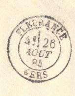 GERS 32 FLEURANCE Env ST  Tad 18 26/08/1884 Sur 40 C Sage  Recommandé TTB - Postmark Collection (Covers)