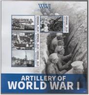 WWI World War Artillery , Railway Gun, Filloux Mortar Bombs, Krupp Balloon Gun, Howitzer Weapon Soldier, MS MNH Grenada - Guerre Mondiale (Première)