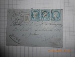 Lot Du 25-06-16_01_rare Bande De Trois Du N°60 Type 2,reexpediée,marque Facteur Verso De St Haon Le Chateau,GC 3655 - 1871-1875 Ceres