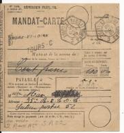 """1940 - MANDAT CARTE FM De TOURS RECETTE AUXILIAIRE """"C"""" (INDRE ET LOIRE) Pour Le SP 52 - Postmark Collection (Covers)"""