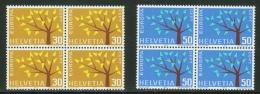 Suisse /Schweiz/Switzerland/ Variétés //  Europa 1962 En Bloc De 4 ** Branches Courtes Sur Les 2 Timbres No. 389-390 - Errors & Oddities