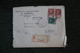 Enveloppe Timbrée Publicitaire Recommandée - PERPIGNAN, Produits Aromatiques R.CARBONNEL, Perpignan. - Lettres & Documents