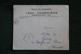 Enveloppe Publicitaire , Rare Affranchissement Au Verso- MONESTIER DU PERCY - Léon CHARRIERE, Paille Et Fourrages - Lettres & Documents