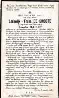1867 1941 Lodewijk De Groote Hallet Mannekensvere Nieuwpoort Middelkerke Bidprentje Doodsprentje Image Mortuaire - Images Religieuses