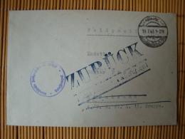 """Marine  - Feldpostbrief, Abs. M 17387 Nach Stralsund Und Stempel """"Zurück"""""""