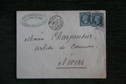 Enveloppe Timbrée Publicitaire, PARIS MONT MONTMARTE - Fabrique De Chapeaux De Paille - DUFOUR - 1862 Napoleon III