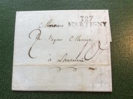 Schweiz Suisse Vorphilatelie DEPARTEMENT CONQUIS 127 MARTIGNY (Valais Wallis) Brief 1813 > Lausanne (lettre Cover France - ...-1845 Vorphilatelie
