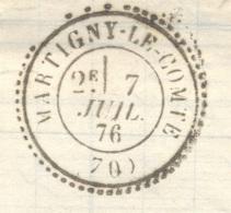 SAONE ET LOIRE 71 MARTIGNY LE COMTE LAC Tad 24 Sur N° 60 Du 07/07/1876 SUP Ind23 - Marcophilie (Lettres)