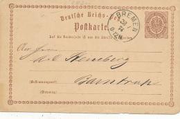 BREMEN - 1874 ,  Ganzsache Nach Barntrup - Deutschland