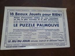 Buvard Publicitaire Illustré Cadeau Puzzle Palmolive Savon Jouet - J