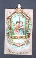 CARTE 7,8 X 12,6 Cm AVEC ANGELOTS, COMPOSEE DE 5 EPAISSEURS DE DECOUPIS - Anges