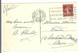 REIMS - Inauguration Cathédrale 9-10 Juillet 1938 - Marcophilie (Lettres)