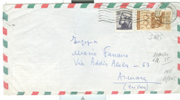OLIMPIADI £.5+100 MICHELANGIOLESCA,IN TARIFFA LETTERA 1° PORTO VIA AEREA,1961,ASMARA,ERITREA,SORIANO AL CIMINO,VITERBO, - 6. 1946-.. Republic