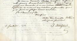 Louis Simon AUGER (1772-1829) 3 Juillet 1809 - L.A.S. à M. MICHAUD Imprimeur, Libraire à Paris - Voir Texte - Historical Documents