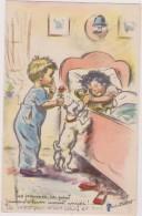 Carte Postale Signée Germaine Bouret, Illustratrice Cotée,enfant Galant Avec Rose,femme Guatée Qui Dort Beaucoup - Bouret, Germaine