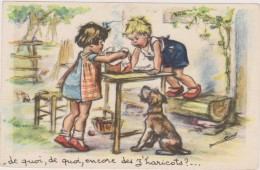 Carte Postale Signée Germaine Bouret,illustratrice Trés Cotée,thème De La Bonne Bouffe,haricot De La Ferme,popote,chien - Bouret, Germaine