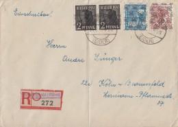 Bizone R-Brief Mif Minr.2x 36I,43II, A49II Friedrichstadt - Bizone
