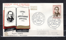 """Enveloppe 1er Jour De 1957 """" AUGUSTE COMTE """" N° YT 1121. Voir Les Scans Recto/Verso. FDC - FDC"""
