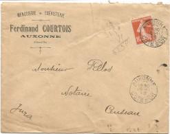 N°138 LETTRE DAGUIN TRACES DU PISTON AUXONNE 16.11.1910 COTE D'OR - Marcofilie (Brieven)