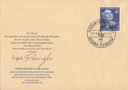 Berlin Brief EF Minr.128 ESST Berlin 17.9.55 FDC - Briefe U. Dokumente