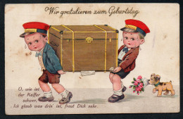 2990 - Alte Litho Postkarte - Leporello Schatzkiste Mit Geldscheinen - Dessins D'enfants