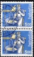 SWITZERLAND 2001 Occupations 5f Vertical Pair (fluorescent Fibres) Used - Gebraucht
