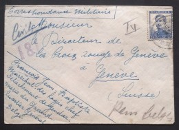 Petite Env Franchise Militaire GENDARMERIE Du GRAND QUARTIER GENERAL BELGE Pour Croix Rouge Genève 1915 - Marcophilie (Lettres)