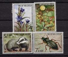 Belgium**FAUNA  & FLORA-Badger-Beetle-Gentian-4vals-Flowers-Insects-Mammals-1974-MNH - Belgium
