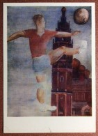 Vintage USSR Russian Postcard 1979 By Dejneka. Soccer Player Hits The Ball. City Tower. Mosque. 1930 - Fútbol