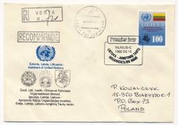 LITUANIE - Une Enveloppe Recommandée - Admission De La Lituanie à L'ONU - 1992 - Ayant Voyagé - UNO